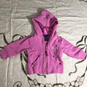 Guess baby pink zip up hoodie